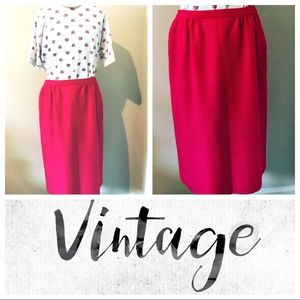 Vintage hot pink wool skirt with pockets